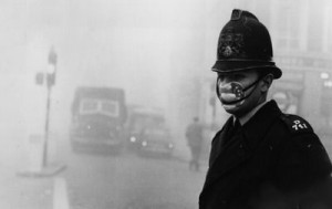smog policeman with mask 300x189 On This Day, December 4, 1952