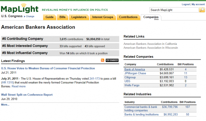 MapLight ABA CompanyPageLaunch 670x394 MapLight reveals moneys influence in politics