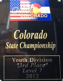 2012 Level 7 State Plaque1 Premier Gymnastics in Level 7 competition