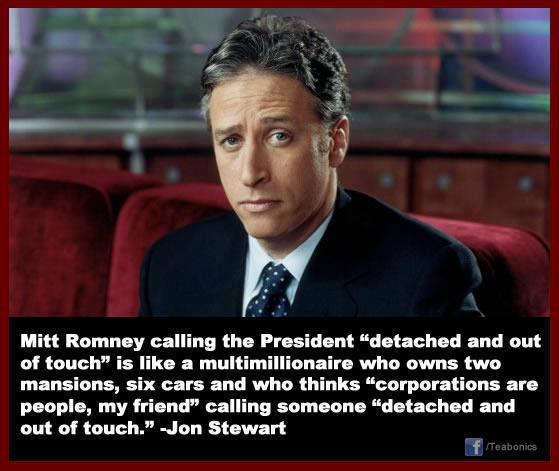 Jon Stewart on romney Out of Touch?
