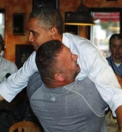 obama bear hug Right Wing trolls bash pizza parlor
