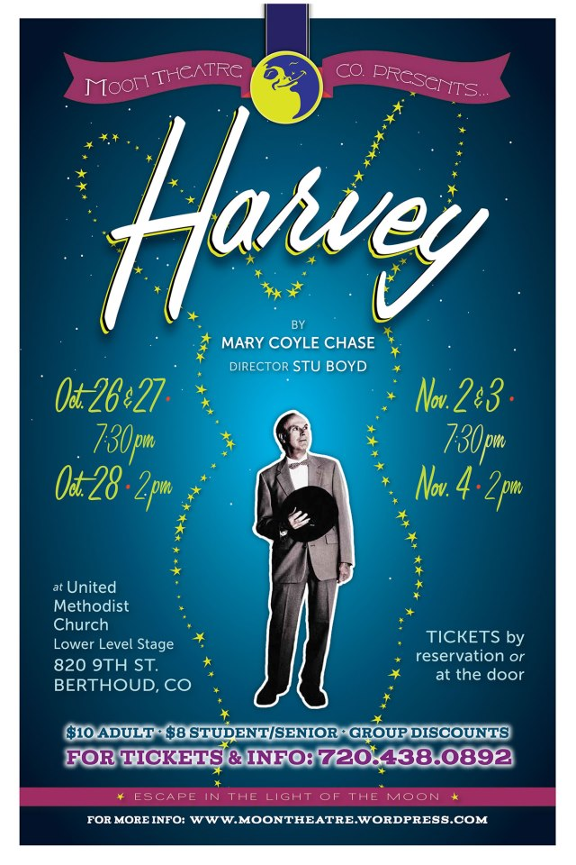 Harvey promo flyer Moon Theater presents Harvey
