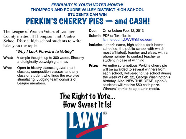 2013 Cherry Pie Contest flyer bottom League of Women Voters Essay Contest