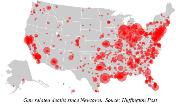usgundeathsinsidemap Thousands of gun deaths since Newtown