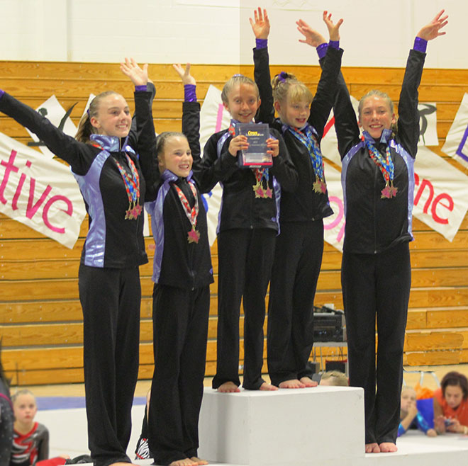 . Level 5 team from left to right Brittani Myers, Abby Hazlett, Kylla Justice, Maddy Blair, and Morgan Kenner.  Photo credit: Wendy Kenner