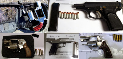 Five of the 38 guns discovered by TSA agents at airports across the country last week.