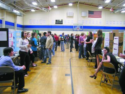 SC Sci%20Fair,Students%20await%20judges%20 %20HIndman DC.tif0014 Science Fair &#039;09    TMS Students Display Knowledge, Hard Work, at Science Fair