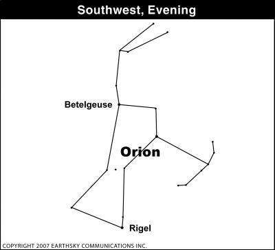 sky Earth & Sky:  Orion Shifts Westward