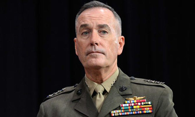 US general Joseph Dunford offered personal condolences over deaths of two Afghan boys. Photograph: AFP