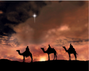 Tree Wise Men riding their camels